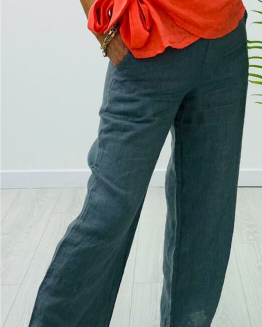 Linen elasticated waist trousers charcoal1